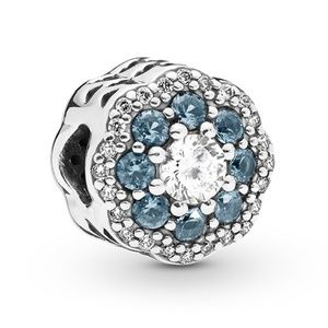 Pandora Blue Sparkle Flower Charm 797851NMB